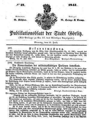 Görlitzer Anzeiger vom 12.07.1847
