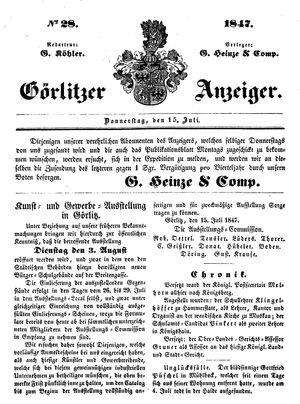 Görlitzer Anzeiger vom 15.07.1847