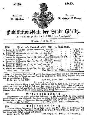 Görlitzer Anzeiger on Jul 19, 1847