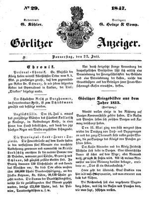 Görlitzer Anzeiger vom 22.07.1847