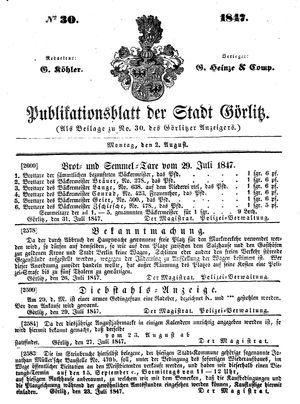Görlitzer Anzeiger vom 02.08.1847