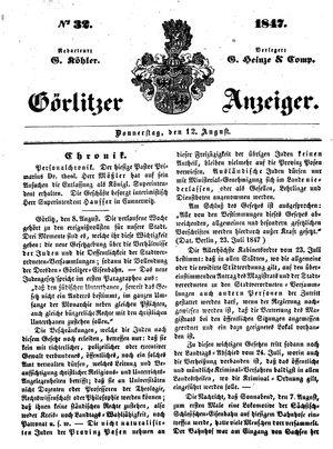 Görlitzer Anzeiger vom 12.08.1847