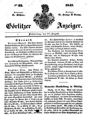 Görlitzer Anzeiger vom 19.08.1847