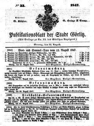 Görlitzer Anzeiger vom 23.08.1847