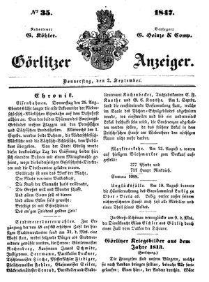 Görlitzer Anzeiger vom 02.09.1847