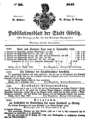 Görlitzer Anzeiger vom 13.09.1847
