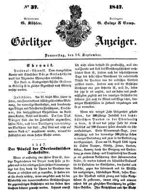 Görlitzer Anzeiger vom 16.09.1847