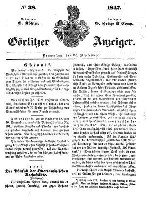 Görlitzer Anzeiger vom 23.09.1847