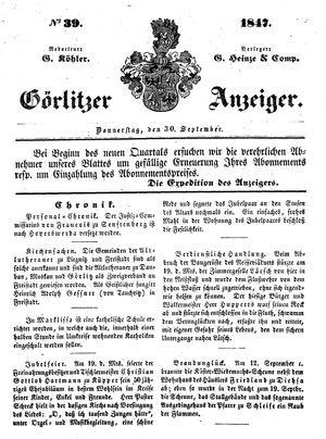 Görlitzer Anzeiger vom 30.09.1847