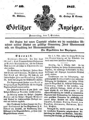 Görlitzer Anzeiger vom 07.10.1847