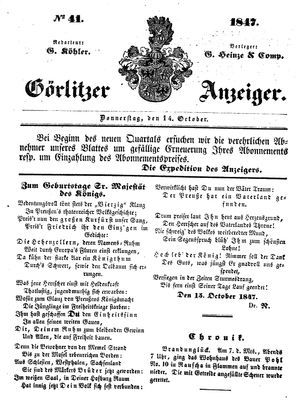 Görlitzer Anzeiger on Oct 14, 1847