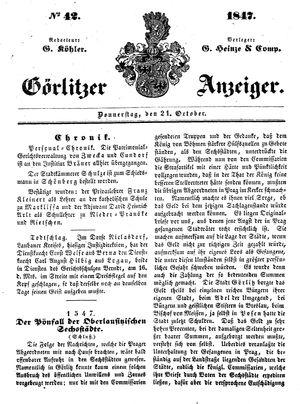 Görlitzer Anzeiger vom 21.10.1847