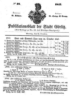 Görlitzer Anzeiger vom 25.10.1847