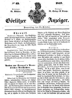 Görlitzer Anzeiger vom 28.10.1847