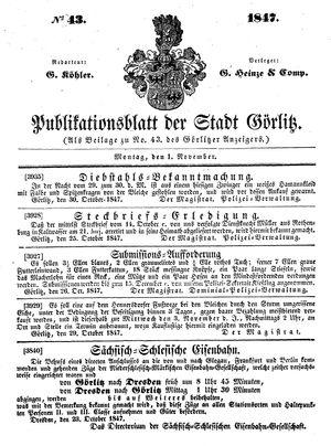 Görlitzer Anzeiger vom 01.11.1847