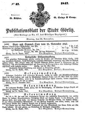 Görlitzer Anzeiger vom 29.11.1847