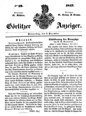 Görlitzer Anzeiger vom 09.12.1847