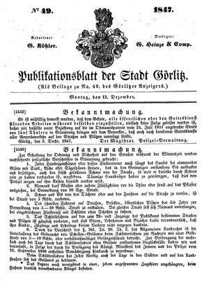 Görlitzer Anzeiger vom 13.12.1847