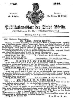 Görlitzer Anzeiger vom 03.01.1848