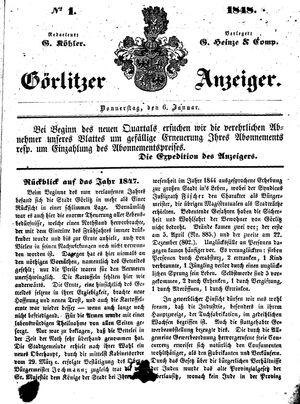 Görlitzer Anzeiger vom 06.01.1848