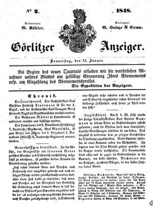Görlitzer Anzeiger on Jan 13, 1848