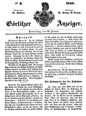 Görlitzer Anzeiger vom 20.01.1848