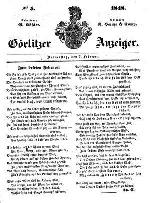 Görlitzer Anzeiger vom 03.02.1848
