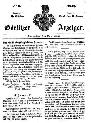 Görlitzer Anzeiger vom 10.02.1848