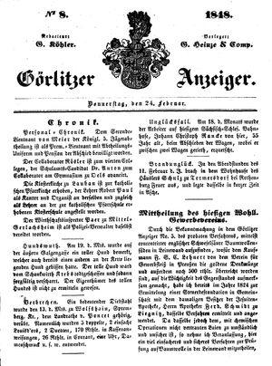 Görlitzer Anzeiger vom 24.02.1848