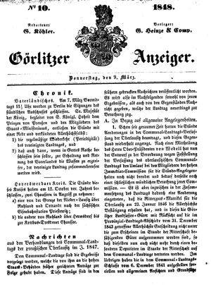 Görlitzer Anzeiger on Mar 9, 1848