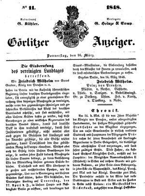 Görlitzer Anzeiger vom 16.03.1848