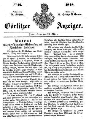 Görlitzer Anzeiger vom 23.03.1848