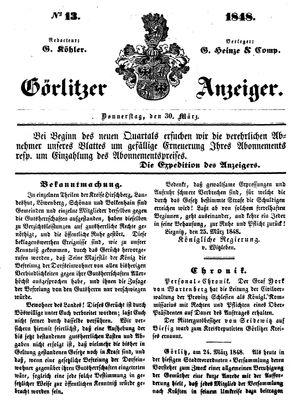 Görlitzer Anzeiger vom 30.03.1848