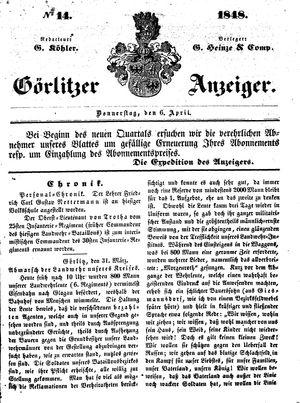 Görlitzer Anzeiger vom 06.04.1848