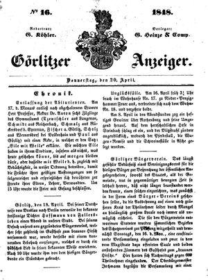 Görlitzer Anzeiger vom 20.04.1848