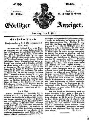 Görlitzer Anzeiger vom 07.05.1848