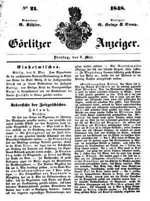 Görlitzer Anzeiger vom 09.05.1848