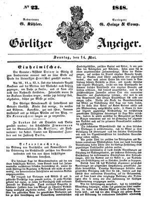 Görlitzer Anzeiger vom 14.05.1848