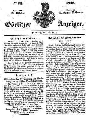 Görlitzer Anzeiger vom 16.05.1848