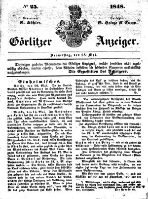 Görlitzer Anzeiger vom 18.05.1848