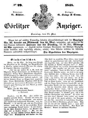 Görlitzer Anzeiger vom 28.05.1848