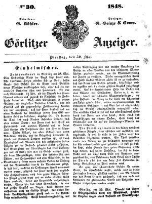 Görlitzer Anzeiger vom 30.05.1848