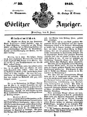 Görlitzer Anzeiger vom 06.06.1848