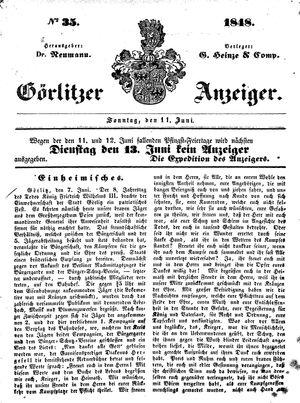 Görlitzer Anzeiger vom 11.06.1848