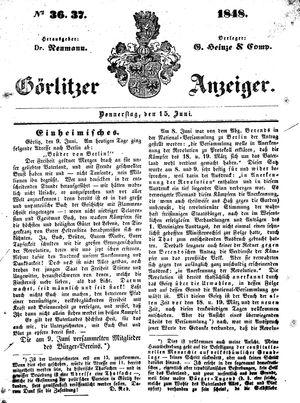 Görlitzer Anzeiger vom 15.06.1848