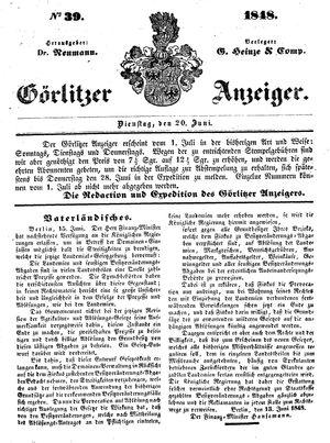 Görlitzer Anzeiger vom 20.06.1848