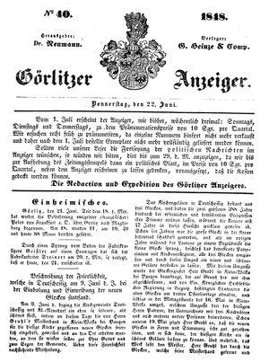 Görlitzer Anzeiger vom 22.06.1848