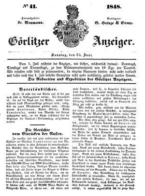Görlitzer Anzeiger vom 25.06.1848