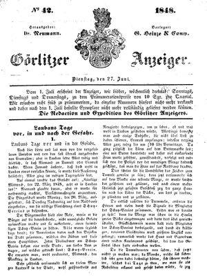 Görlitzer Anzeiger vom 27.06.1848