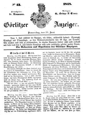 Görlitzer Anzeiger vom 29.06.1848